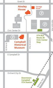 diagram map of Campbell Historical Museum and Ainsley House's relative locations