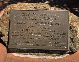 Museum dedication plaque from the Campbell City Council