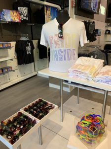 "Intel Museum gift shop display of ""Pride Inside"" t-shirts and bracelets during the month of June"