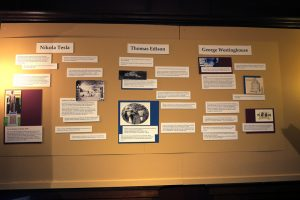 display wall at Museum of American Heritage in Palo Alto showing Nikola Tesla, Thomas Edison, and George Westinghouse's work on electricity