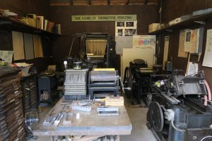 printing press garage at Museum of American Heritage in Palo Alto