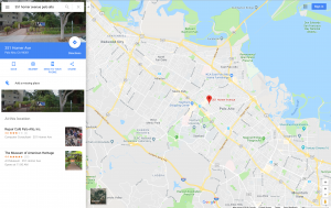 Google map of area around Museum of American Heritage in Palo Alto