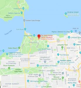 zoomed-in Google map showing The Walt Disney Family Museum in the Presidio