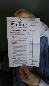 Gilroy Gardens boarding pass for special needs