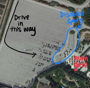 annotated map of the Gilroy Gardens parking lot, highlighting the disabled parking