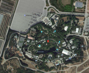 Google maps satellite photo of Gilroy Gardens