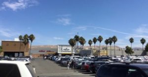 parking lot and entrance to the Great Mall in Milpitas