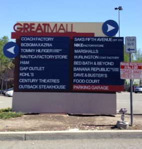 store listing directory outside the Great Mall in Milpitas