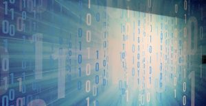 close-up of an Intel Museum mural with 0 and 1 binary text all over