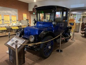 Old electric vehicle in Campbell Historical Museum