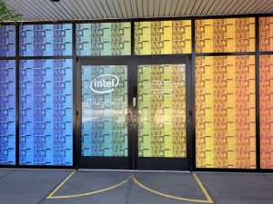 Intel Museum entrance doors with Pride rainbow decoration