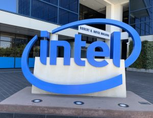 Giant Intel logo sign outside the Intel Museum