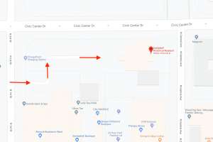 Zoomed-in Google map showing arrows of where to park