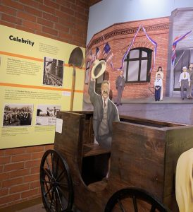 Carriage with picture of Teddy Roosevelt in the Campbell Historical Museum