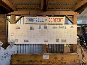 "timeline called ""Campbell in Context,"" detailing the history of Campbell in parallel to world history"
