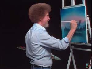 "screenshot of a Bob Ross ""The Joy of Painting"" classic episode"